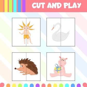 Kinderspel knippen en spelen met afbeeldingen van schattige dieren. cartoon-stijl. vector illustratie.