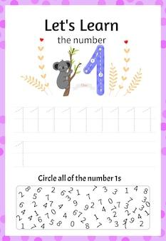 Kinderspel laten we de nummer één leren. cartoon-stijl. vector illustratie.