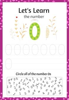 Kinderspel laten we het getal nul leren. cartoon-stijl. vector illustratie.