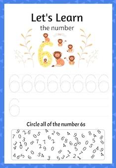 Kinderspel laten we het getal zes leren. cartoon-stijl. vector illustratie.