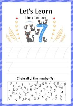 Kinderspel laten we het getal zeven leren. cartoon-stijl. vector illustratie.