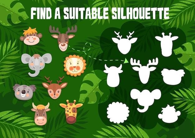 Kinderspel vind een geschikt silhouet met schattige dieren. schaduw match raadsel voor kinderen logische activiteit met cartoon grappige aap, eland en olifant, koala, hert met giraf en koe of stier