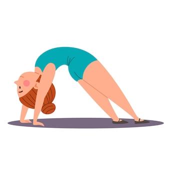 Kindersportgymnastiek het meisje staat in de brughouding oefeningen voor de rug