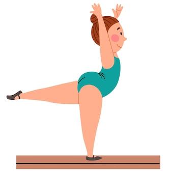 Kindersportgymnastiek het meisje staat op één been in de zwaluwhouding