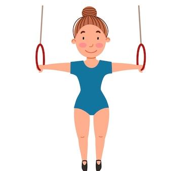 Kindersportgymnastiek oefening op de ringen