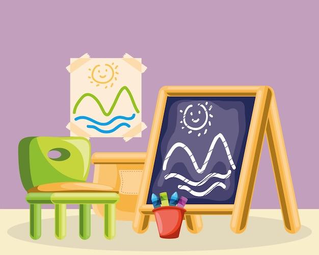 Kinderstoel schoolbord kleurpotloden tekenen