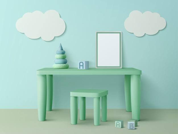 Kindertafel met poster mockup, stoel, speelgoedblokjes, piramide en wolkendecoratie aan de muur