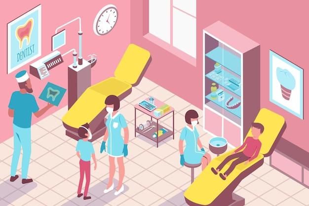Kindertandheelkunde kliniek illustratie