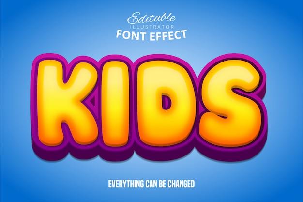 Kindertekst, 3d-paars en geel bewerkbaar lettertype-effect