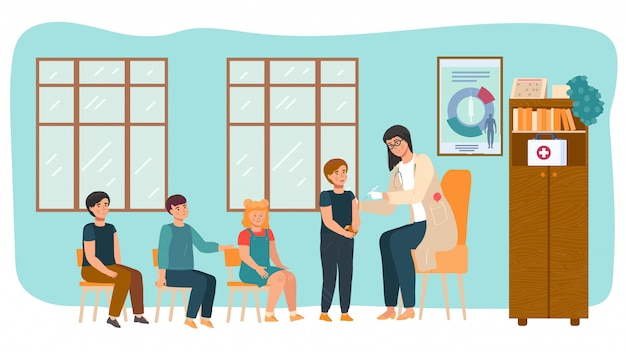 Kindervaccinatie, arts doet vaccininjectie voor kinderen in de kleuterschool, kinderen patiënt gezondheidszorg cartoon afbeelding.