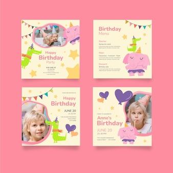 Kinderverjaardag instagram posts collectie Gratis Vector