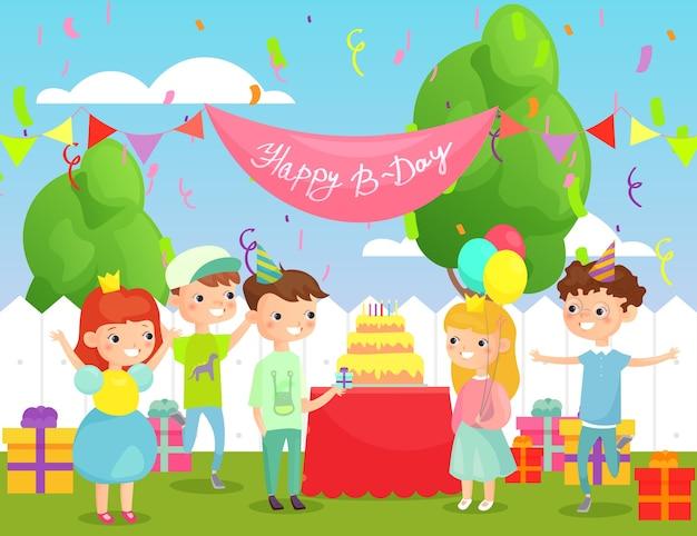 Kinderverjaardagsfeestje in de tuin met veel gelukkige kinderen, verjaardagsfeestje in platte cartoonstijl.