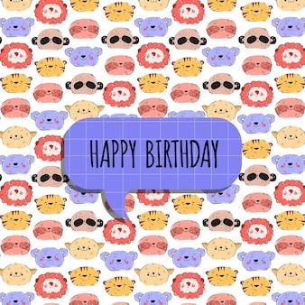 Kinderverjaardagskaart met dieren in cartoon handgetekende stijl