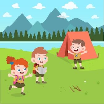 Kinderverkenners bij kampillustratie