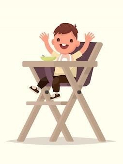 Kindervoeding. gelukkig kind zittend op de kinderstoel. illustratie