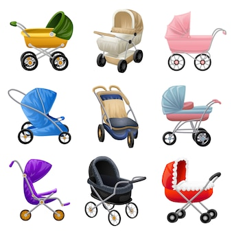 Kinderwagen iconen set, cartoon stijl