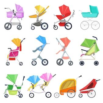 Kinderwagen kinderachtige buggy of kinderwagen en kinderwagen voor kinderen of kinderen vervoer illustratie set van kinderwagen voor pasgeboren met wiel en handvat op witte achtergrond