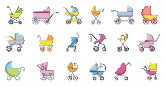 Kinderwagen pictogramserie. beeldverhaalreeks kinderwagen vectorpictogrammen geplaatst geïsoleerd