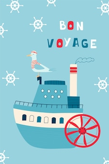 Kinderzeeposter met stoomboot en zeemeeuwkapitein en handgeschreven letters bon voyage.