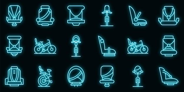 Kinderzitje fiets pictogrammen instellen. overzicht set van kinderzitje fiets vector iconen neon kleur op zwart