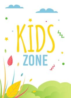 Kinderzone advertentievlieger in natuurlijke vlakke stijl.