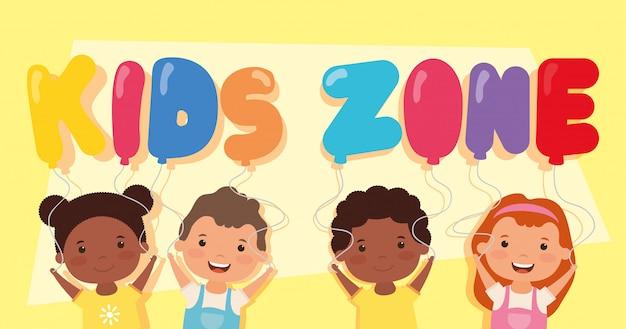 Kinderzone belettering met interraciale kinderen