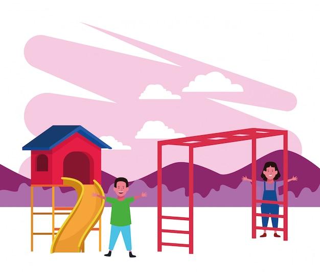 Kinderzone, lachende jongen en meisje glijbaan en aap bars speeltuin