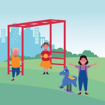 Kinderzone, meisje met bal en jongensaapstaven en springpaardspeelplaats