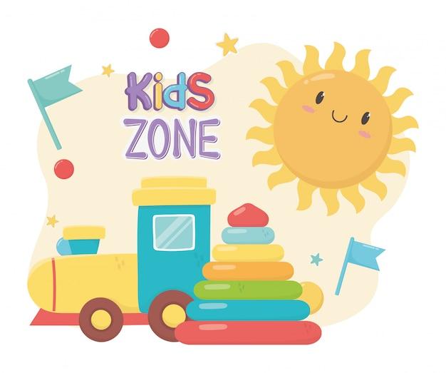 Kinderzone, rubberen piramide en plastic treinspeelgoed