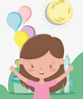 Kinderzone, schattig meisje met ballonnen in de buitenlucht