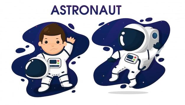 Kindfiguren in astronaut kostuum in de ruimte.