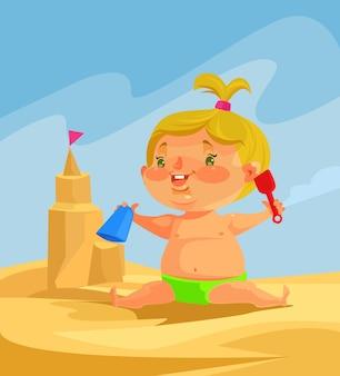 Kindkarakter bouwt zandkastelen.