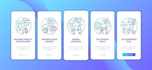 Kindveiligheid donkerblauw onboarding mobiel app-paginascherm met concepten. zelfverdedigingsvaardigheden. kinderen bescherming door vijf stappen grafische instructies. ui-sjabloon met illustraties in kleur