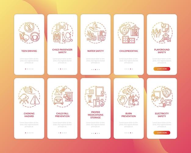 Kindveiligheid rood onboarding mobiele app paginascherm met concepten ingesteld