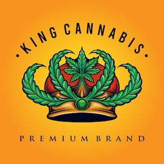 King cannabis logo wietwinkel en bedrijfsillustratie