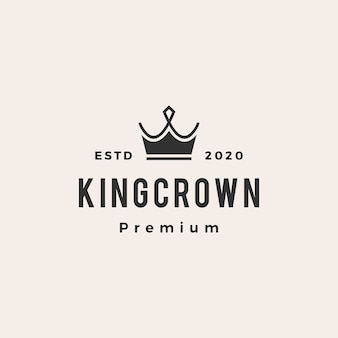 King crown hipster vintage logo icoon