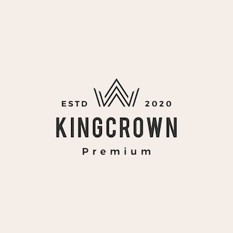 King crown hipster vintage logo