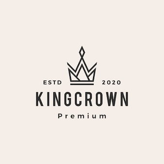 King crown hipster vintage logo.