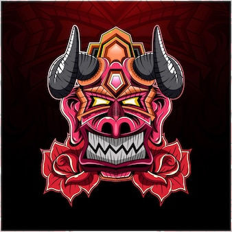 King devil head met rose mascot-logo