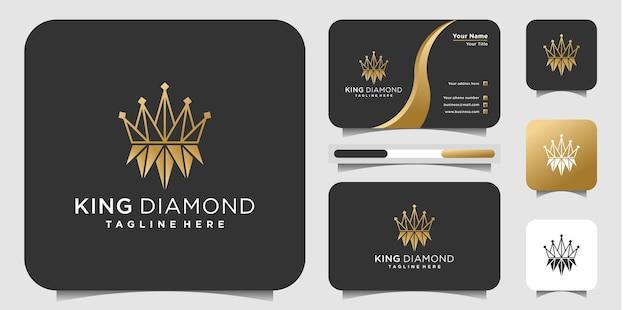 King diamond-logo-ontwerp met gouden gradiëntkleuren en businnes-kaartontwerp premium vector