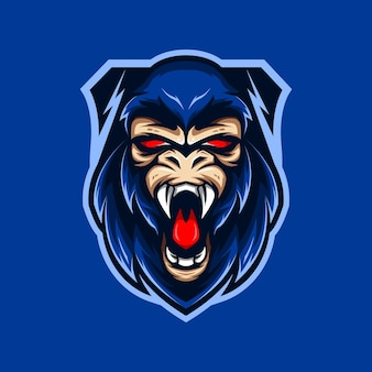 King kong hoofd premium sportclub mascotte logo vector