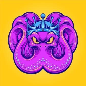 King kraken mascot octopus met kroonillustraties voor logo en merchandise kledinglijn