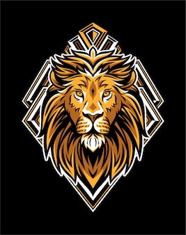 King lion head met geometrische badge