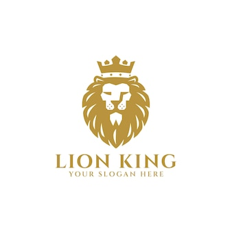 King lion met kroon logo mascotte