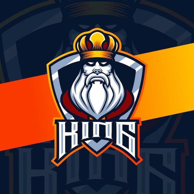 King mascotte esport logo ontwerp