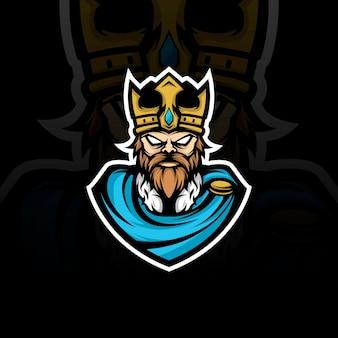 King mascotte illustratie Premium Vector