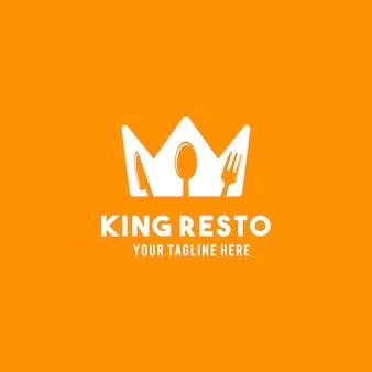 King restaurant vlakke stijl ontwerp symbool logo illustratie sjabloon