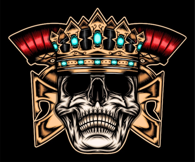 King skull spartan geïsoleerd op zwart