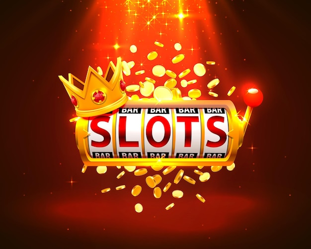 King slots 777 banner casino op de rode achtergrond. vector illustratie