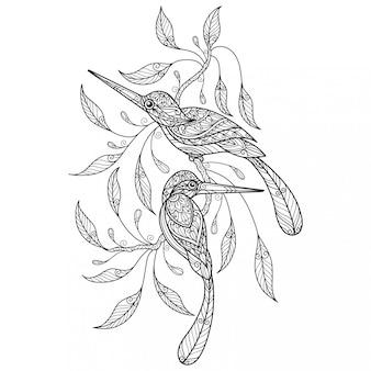 Kingfihert. hand getrokken schets illustratie voor volwassen kleurboek.